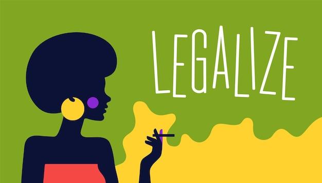 Carattere della ragazza della donna con la sigaretta. carattere piatto moderno. personaggio di donna ragazza con sigaretta