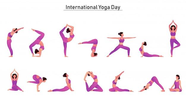 Carattere del set femminile in diverse pose yoga