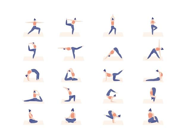 Carattere delle donne in posa yoga. illustrazione