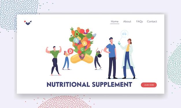 I personaggi applicano un supplemento nutrizionale o un modello di pagina di destinazione delle vitamine. stile di vita sano, alimentazione di alimenti biologici, prodotti freschi naturali fortificati, assistenza sanitaria. cartoon persone illustrazione vettoriale