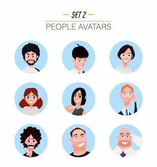 Avatar di personaggi in stile piatto del fumetto.