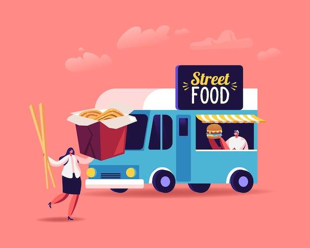 Personaggi che comprano e mangiano cibo di strada, pasti spazzatura da asporto da un bar con ruote o da un camion di cibo