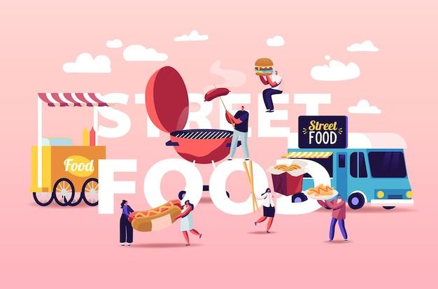 Illustrazione di acquisto di cibo di strada di caratteri