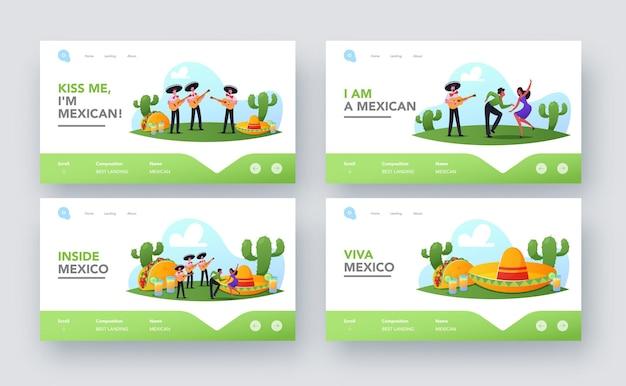 I personaggi celebrano l'insieme di modelli di pagina di destinazione del partito messicano. persone in abiti tradizionali, musicisti mariachi con chitarre e ballerini che celebrano la festa nazionale. fumetto illustrazione vettoriale