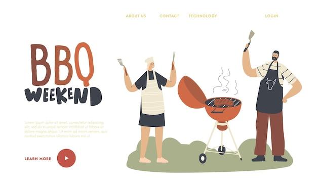 I personaggi in capo grembiule trascorrono del tempo sul modello di pagina di destinazione per barbecue all'aperto. famiglia o amici che cucinano carne sulla macchina del barbecue in cortile divertendosi durante l'ora legale. illustrazione vettoriale di persone lineari