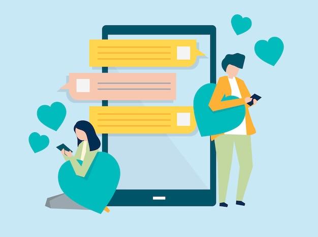Caratteri di un messaggio di coppia su un'illustrazione mobile