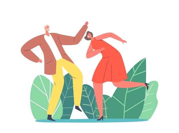 Personaggi che ballano sulla festa in discoteca. uomo e donna in vestiti alla moda che celebrano le vacanze, trascorrendo del tempo insieme spostandosi al ritmo di musica felice tempo libero e tempo libero. cartoon persone illustrazione vettoriale