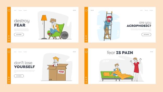 I personaggi provano paura insieme di modelli di pagina di destinazione