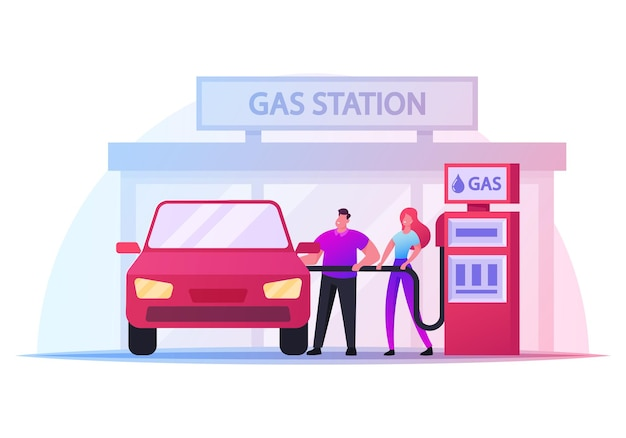 Personaggi sulla stazione di servizio, uomo e donna tengono la pistola di rifornimento per versare carburante nell'auto