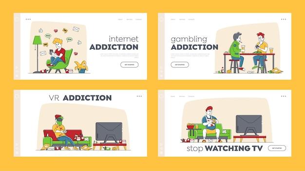 Caratteri problemi di salute, insieme di modelli di pagina di destinazione dipendenza.