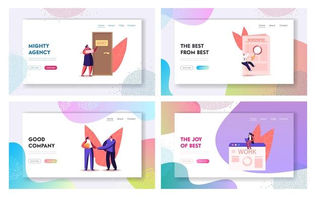 Set di modelli di pagina di destinazione del lavoro che assumono personaggi.