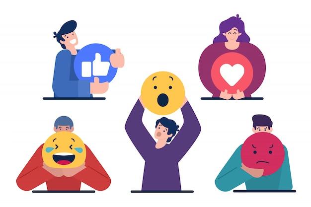Personaggi che tengono il segno di emoticon