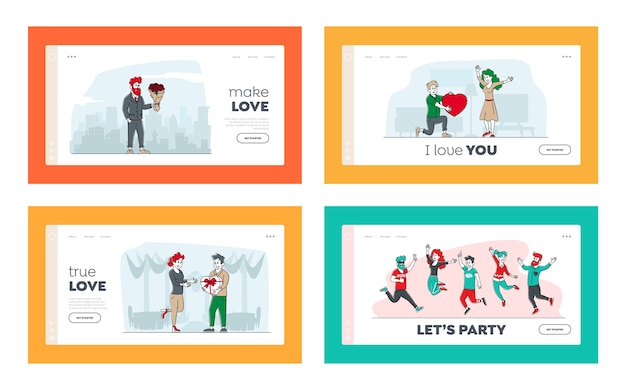 Personaggi in amore landing page template set