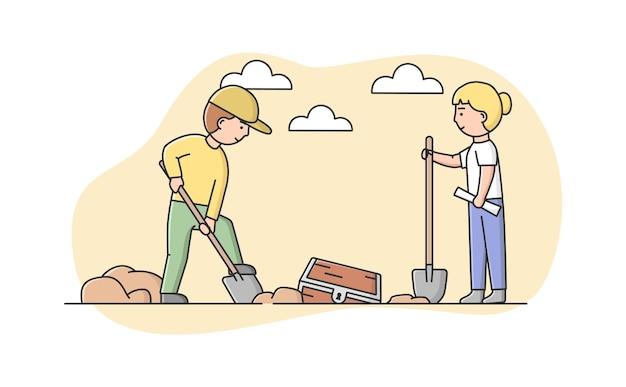 Personaggi che fanno scavi di antichi resti di animali