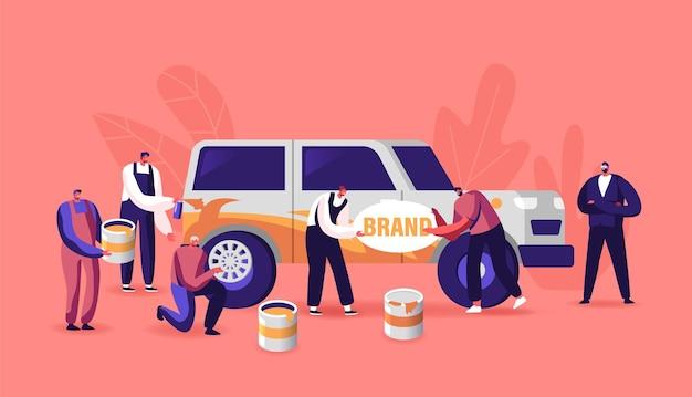 Personaggi che dipingono auto che fanno aerografia, cambio ruote, operai automobilistici con strumenti che fanno modifiche al veicolo presso il servizio auto. carrozzeria, aggiornamento. cartoon persone illustrazione vettoriale