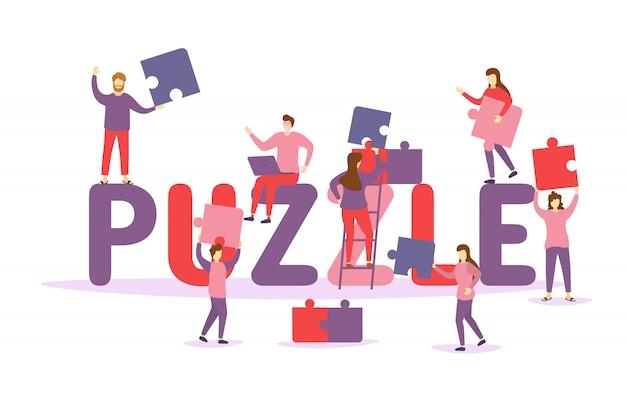 Personaggi persone che collegano elementi puzzle. uomini d'affari tenendo il grande pezzo di puzzle. concetto di business di lavoro di squadra, coworking, crowdfunding, cooperazione e collaborazione. illustartion