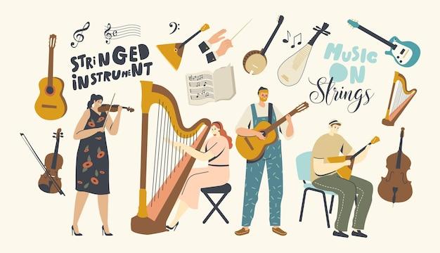 Personaggi che suonano musica, musicisti con strumenti a corda che si esibiscono sul palco con violino, arpa, chitarra o balalaika, concerto dell'orchestra dell'artista, esibizione popolare. cartoon persone illustrazione vettoriale