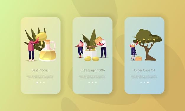 I personaggi producono il modello di schermo a bordo della pagina dell'app mobile dell'olio d'oliva