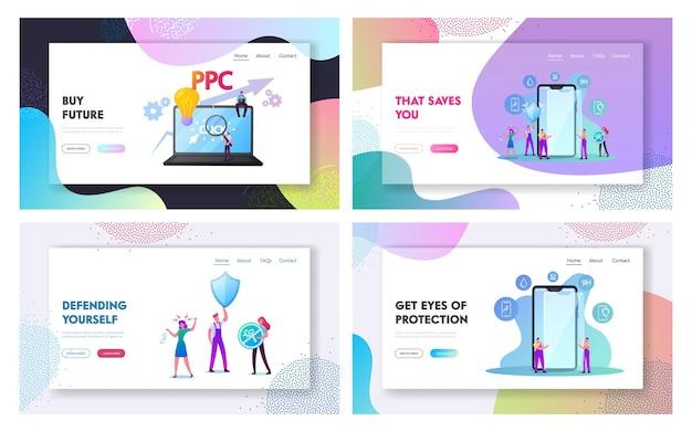 I personaggi mettono insieme il modello della pagina di destinazione della protezione dello schermo dello smartphone.
