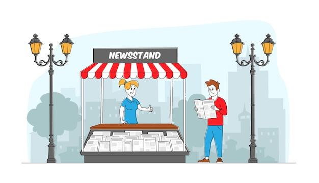 Personaggi che leggono e vendono giornali. l'uomo in piedi al chiosco legge le notizie mentre si cammina sulla strada cittadina. persona che compra una rivista presso lo stand all'aperto. stampa media business. persone lineari