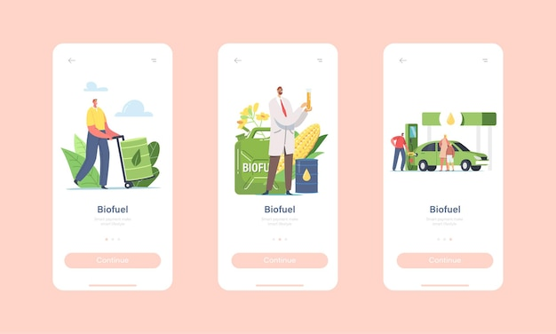 Personaggi che fanno rifornimento di carburante con biocarburante sulla pagina dell'app mobile della stazione modello di schermata di bordo. scienziato con flask