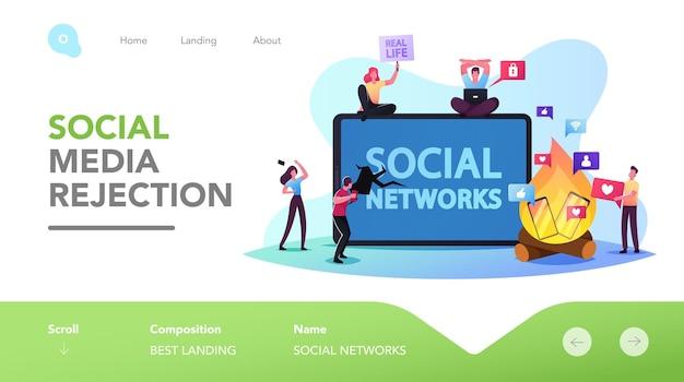 Rifiuto dei personaggi del modello di pagina di destinazione dei gadget. internet e social network deto digitale. le persone si rifiutano dal telefono e dalla dipendenza online, trascorrono il tempo libero offline. fumetto illustrazione vettoriale