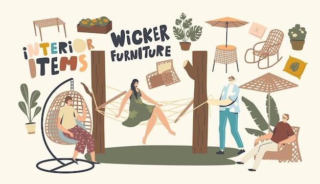 I personaggi si rilassano su mobili in vimini all'aperto. donna seduta su poltrona sospesa e amaca, sedia a dondolo, tavolo e ombrellone per l'arredo del giardino e della casa all'aperto. illustrazione vettoriale di persone lineari
