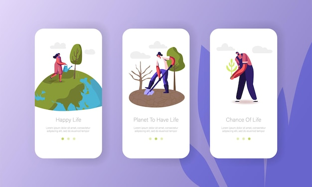 I personaggi salvano il modello di schermo a bordo della pagina dell'app mobile pianeta terra