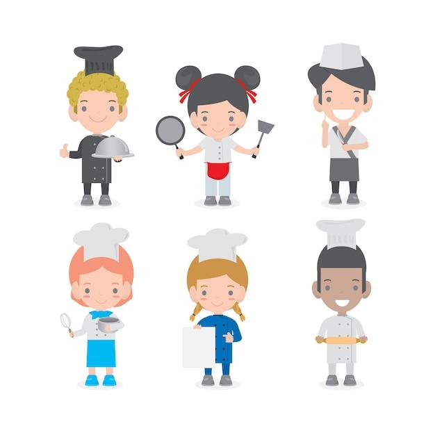 Set di caratteri di bambini cuochi, carino bambini chef su sfondo bianco, set di bambini in cucina, cuoco bambino carino