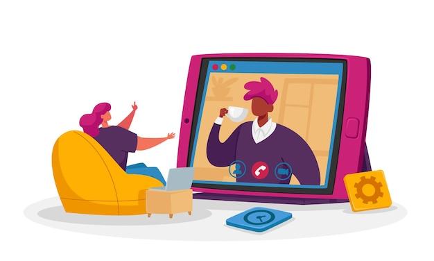 I personaggi seduti in ufficio oa casa con dispositivi digitali prendono parte a riunioni o briefing online.