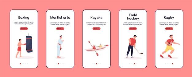Personaggi nello sport onboarding schermo piatto dell'app mobile. hobby preferiti. procedura dettagliata del sito web con i personaggi. ux, ui, interfaccia grafica per cartoni animati per smartphone, set di stampe di custodie