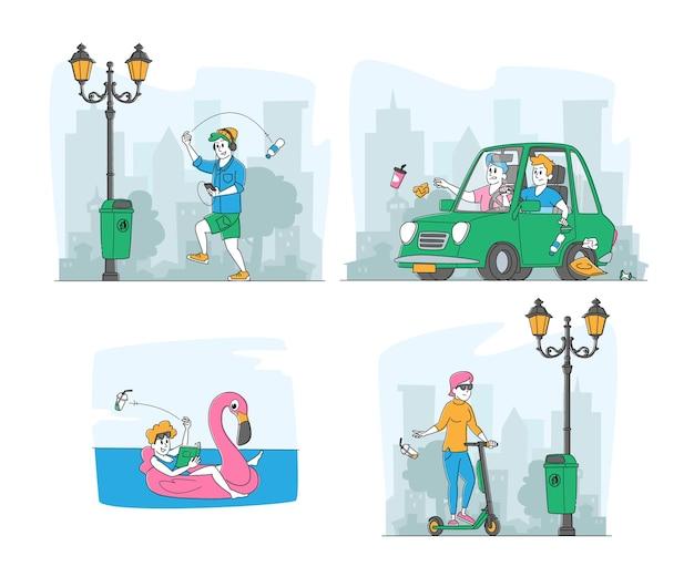I personaggi gettano la spazzatura in strada