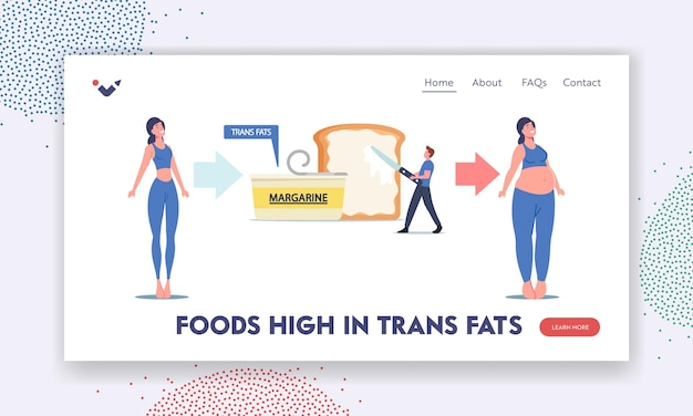 Personaggi alimentazione non salutare, modello di pagina di destinazione dell'obesità. la donna magra diventa grassa a causa del consumo di grassi trans e prodotti per il colesterolo a margarina. l'uomo ha messo la diffusione sul pane tostato. cartoon persone illustrazione vettoriale