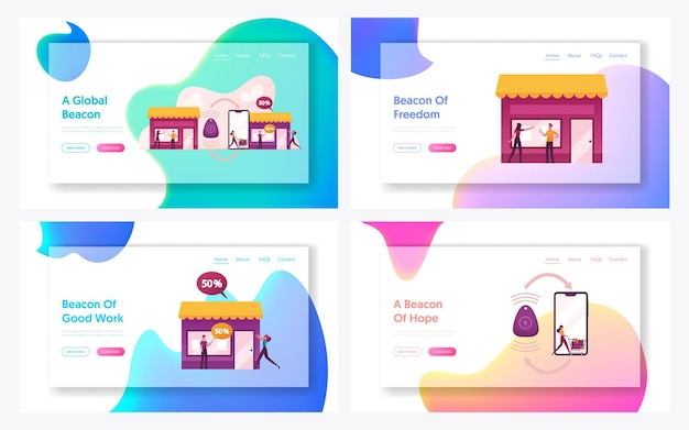 Personaggi che utilizzano la tecnologia beacon per lo shopping landing page template set.