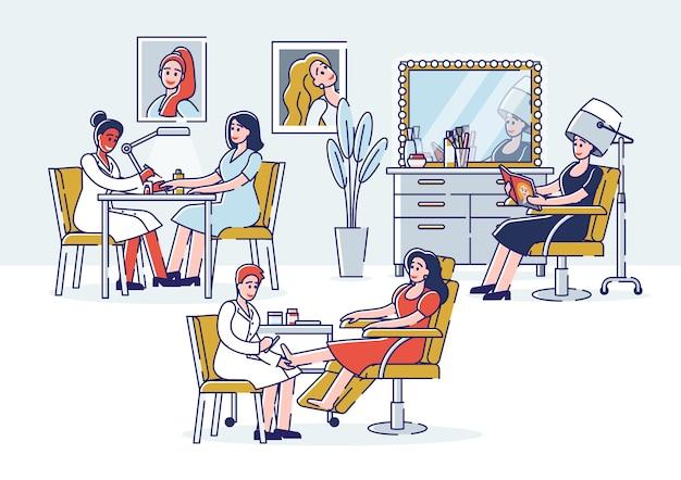 I personaggi visitano il salone di bellezza per fare manicure e pedicure