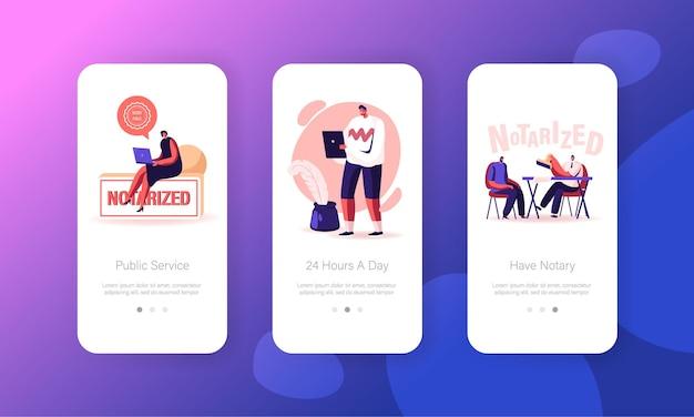 I personaggi visitano il modello di schermata della pagina dell'app mobile dell'ufficio dell'avvocato. Vettore Premium