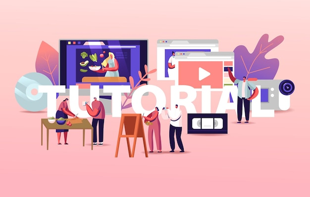Personaggi guarda il video tutorial corsi scarica l'illustrazione della formazione in linea
