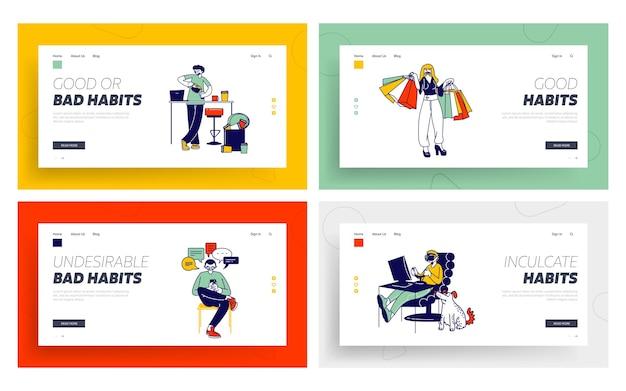 Personaggi con cattive abitudini landing page template set.