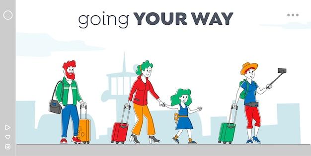 Personaggi con borse che si imbarcano sul modello di pagina di atterraggio dell'aeroplano