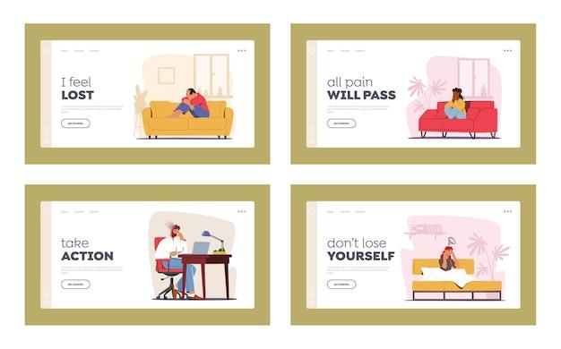 Set di modelli di pagina di destinazione di personaggi con depressione ed emicrania
