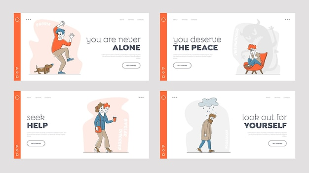 Personaggi con problemi mentali landing page template set