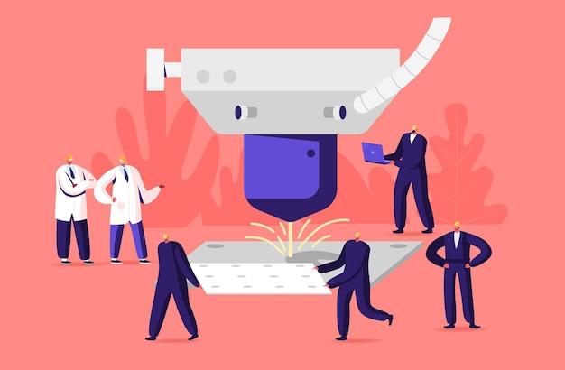 I personaggi lavorano su laser cut factory. piccoli uomini in abiti da lavoro e caschi su materiali di produzione industriale con dettagli e processi di taglio laser. cartoon persone illustrazione vettoriale