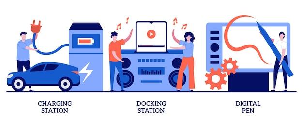 Stazione di ricarica, docking station, concetto di penna digitale con persone minuscole. uso del dispositivo elettronico e set di illustrazione astratta di carica. presa elettrica, capacità della batteria, riproduzione di metafora musicale.