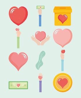 Set di icone di finanziamento di beneficenza