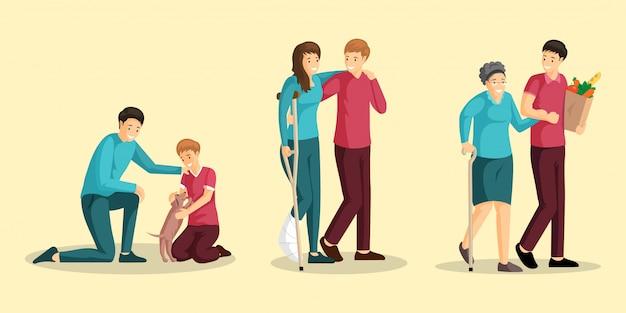 Set di illustrazioni piatte attività di beneficenza. personaggi dei cartoni animati sorridenti di bambino, donna ferita, vecchia signora e volontari. adozione di animali, assistenza per la riabilitazione da traumi, assistenza per la spesa