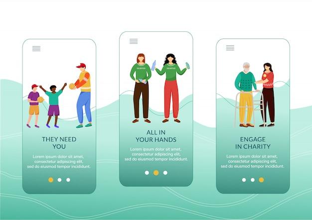 Modello di schermata dell'app mobile per attività di beneficenza. bambini, anziani ed ecologia curano i passaggi del sito web con i personaggi.