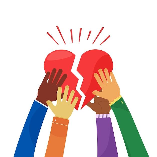 Carità e comunità cuore spezzato trattenuto da persone concetto di amore e compassione volontario