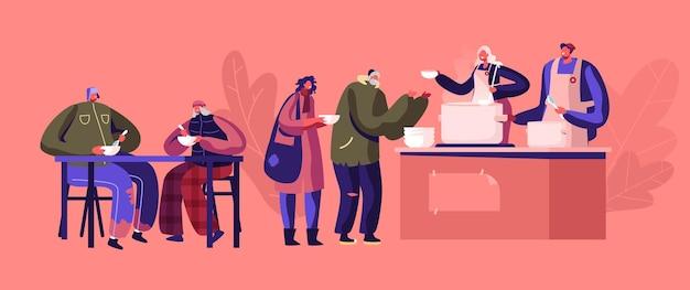 Concetto di carità. ricovero notturno per senzatetto, alloggi di emergenza, residenza temporanea per persone, barboni e mendicanti senza casa. cartoon illustrazione piatta