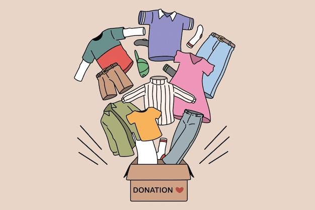 Concetto di beneficenza e donazione di vestiti. scatola con parole di donazione e cari vestiti umani che volano da essa per aver bisogno di persone illustrazione vettoriale