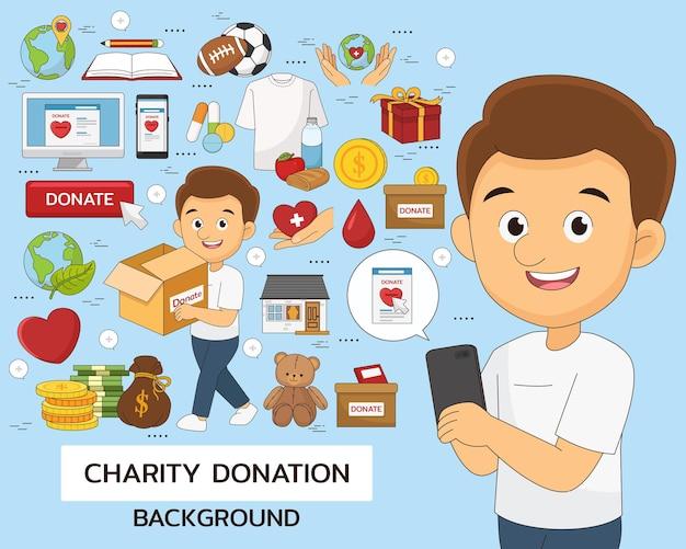 Fondo di concetto di beneficenza e donazione. icone piatte.